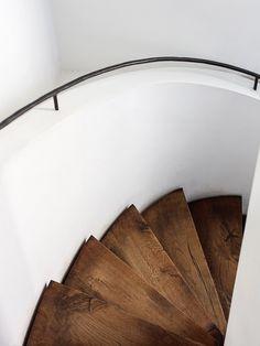 #Spiralstairway with black #metalhandrail and #woodentreads. Restaurant of #AtTheChapel. Photo by #RichStapleton.