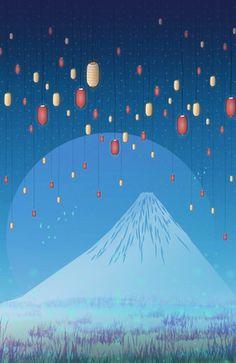 """Catching fireflies"" #Japan #Fuji #lanterns #landscape #illustration #decor"