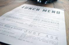 News Room Edinburgh menu design