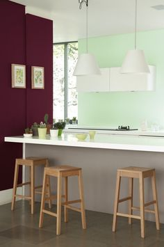 Modern kitchen with still life paintings