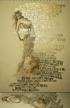 fgda.jpg 647×1000 pixels #girl #transfer #solvent #writing #poster #gold #hand