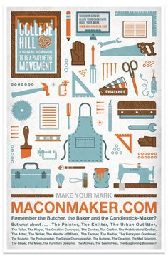 Macon Maker Poster #maker #giant #modern #macon #trade #illustration #stools #poster