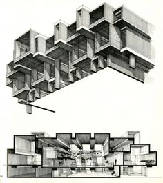 Drawing ARCHITECTURE, Orange County Government Center by Paul Rudolph... #white #black #architecture #and #drawing