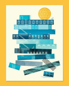 Re Build Up by Skinny Ships #ships #geometry #illustration #skinny #poster #buildings