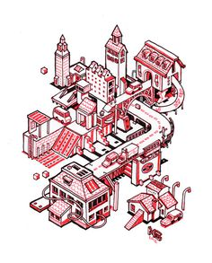 Mini Cities on Behance #city #red #mini