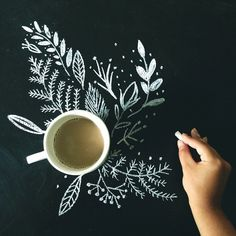 Tumblr #mr cup blog #illustration #chalk #leaves #photography #cup