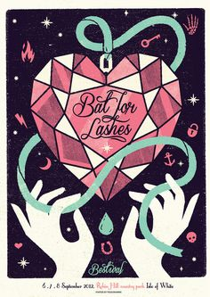 BAT FOR LASHES Telegramme #screenprint #music poster #telegramme #bat for lashes