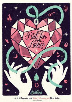 BAT FOR LASHES Telegramme #screenprint #music poster #telegramme #bat for lashes