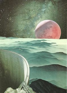 Bryan Olson Collage Illustrations (2) #perspective #print #space #collage #mountains #planet
