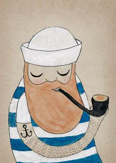 Michelle Carlslund Illustration: Sailor #water #nordic #smoke #sailor #beard #color #stripes #danish #illustration #original #hat #pipe #poster #scandinavian #anchor #drawing #pirate #grey