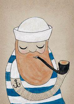 Michelle Carlslund Illustration: Sailor #water #nordic #smoke #sailor #beard #color #stripes #danish #illustration #original #hat #pipe #poster #scandinavian #anchor #drawing #pirate #grey