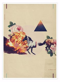 Fuego y Caballo. Collage composition mixing subtle and vibrant vintage illustrations. #illustration #photography #design