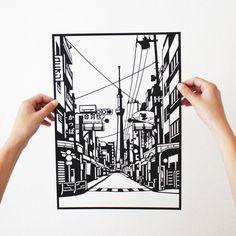 This is a paper cut image of a street near Tokyo Skytree, Japan. #japan #paper #lasercut #papercut #black #silhouette #street #delicate