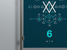 SIX // Symbols & Shapes (Blue) #geometric design #poster #swiss #geometric #blue #clean #shapes #symbols #number #mono