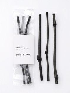 Sort of Coal - Chikutan Sticks - wannahaves - I/OBJECT #white #packaging #black #coal #and