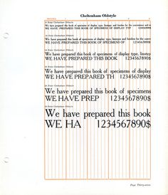 Cheltenham Oldstyle type specimen #type #specimen