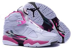 Jordan 8 white pink Nike Womens Size Shoes #shoes