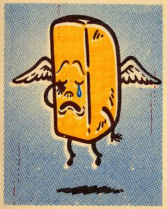 Gary Taxali Ode to the Twinkie #print #illustration #vintage #death #wings #angel #junk #twinkie #heavenly
