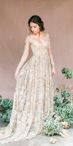 vintage wedding dresses straight v neckline long sleeves emily riggs official