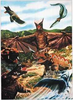 Vintage Showa Era Gamera Art | Flickr - Photo Sharing! #monster #alligator #flying #party