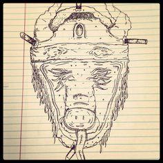 Dead Pig Sketch #ink #white #black #pen #sketch