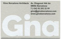 Gina Barcelona Architects by Albert Romagosa #cards #identity #business