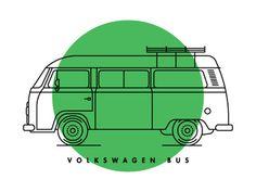 monoline overlay retro vw bus