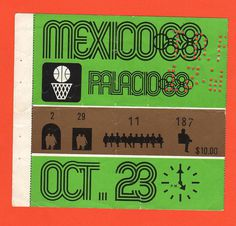 Orig.Ticket Olympic Games Mexico 1968 - BASKETBALL 23.10.1968 !! VERY RARE | eBay #wyman #mexico #infographics #1968 #lance #olympics #basketball #ticket