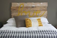 DIY Fence Board HeadboardHouse Tweaking #wood #yellow #rustic #wall #board