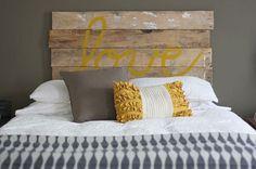 DIY Fence Board HeadboardHouse Tweaking #rustic #board #yellow #wood #wall