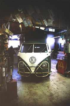 Workplace of Gibbs Connors & Vintage VW Buses #bus #workplace #workshop #photography #vw