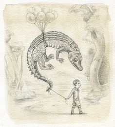 Image of Live Dangerous #crocodile #kid #child #float #balloon #illustration #reptile #danger #sketch #watercolour