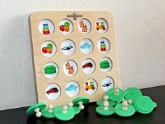 деревянная настольная игра мемори Смекалкин, аналог мемори