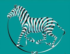 Ribbon Horse Illusion #illustration #horse