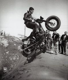 old school motorcycle hill climbing