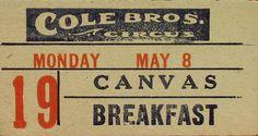 Museum Cole Bros Breakfast Voucher.jpg (960×512) #circus #typography