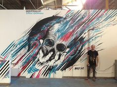 MEGGS X THE HUNDREDS HQ - david meggs hooke #meggs #skull #mural #streetart