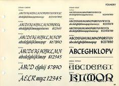 Warren Chappell designed Lydian in 1938, the bold in 1939, and Lydian Cursive in 1940.Missal Initials were designed by Will Bradley in 1904. #type #specimen #typography