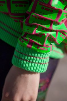 Details - Bethan Heslop — Graduate Collection #model #pink #neon #print #jeans #varsity #sportswear #hat #fashion #green