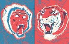2agenten - agentur für illustration #print #tiger #monkey #illustration