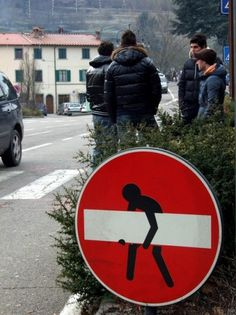 Wooster Collective: Seen On The Streets Of Ponte A Poppi, in Casentino (near Arezzo, Tuscany, Italy) #red #sign #street art #stop