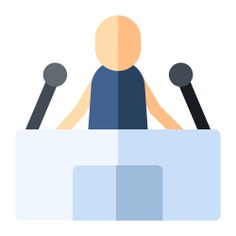 See more icon inspiration related to speaker, press, news, talk, speech, lectern, journalism, lecture, conference, communications, microphone, person and people on Flaticon.