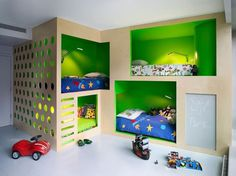 Four kids room with art decor
