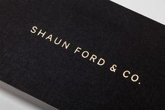 Logotype and business card with block foil detail designed by Savvy for bespoke furniture design firm Shaun Ford & Co. #card #business