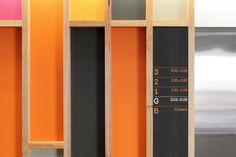 Hofstede Design #grid #wood #orange #black #sign #signage #way finding