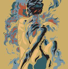 Jorgen Burt #fire #woman screen print