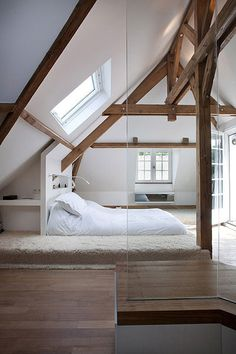 CJWHO ™ (Olivier Chabaud | Bedroom A renovation of a...) #paris #loft #white #room #france #design #interiors #architecture #bed #luxury