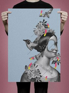 poster #vintage #poster #collage #bird #princess #fly
