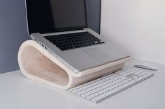 Wooden Laptop Stand #tech #design #wood #furniture #product