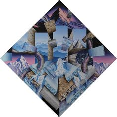 but does it float #abstract #mountain #ground #supernatural #dali #unrealistic #square #galss #painting #ice #drawing #cube